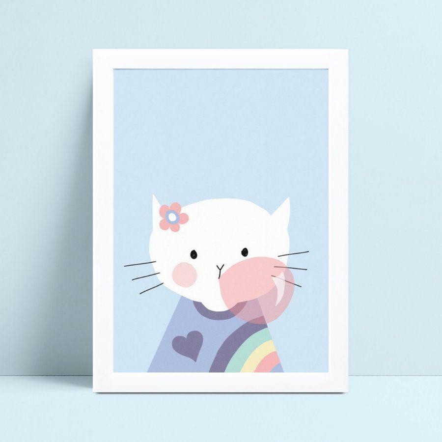 Placa MDF grande poster menina gatinha bola de chiclete