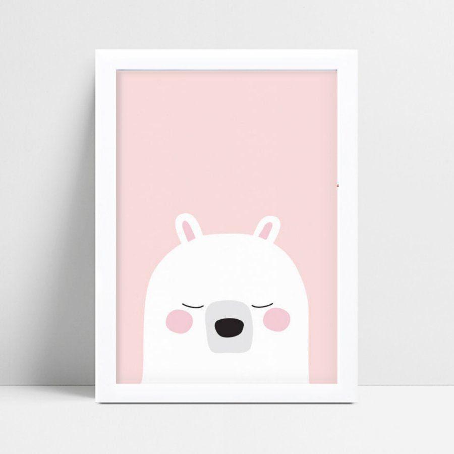 Placa MDF grande poster menina urso branco e rosa