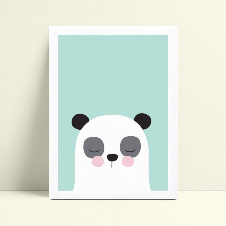 Placa MDF grande poster menino desenho panda
