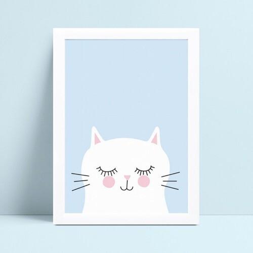 Placa MDF grande poster menino gato