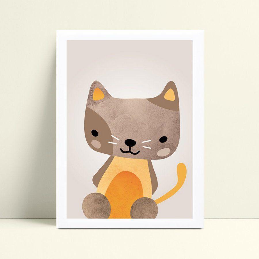 Placa MDF grande poster menino menina gatinho marrom