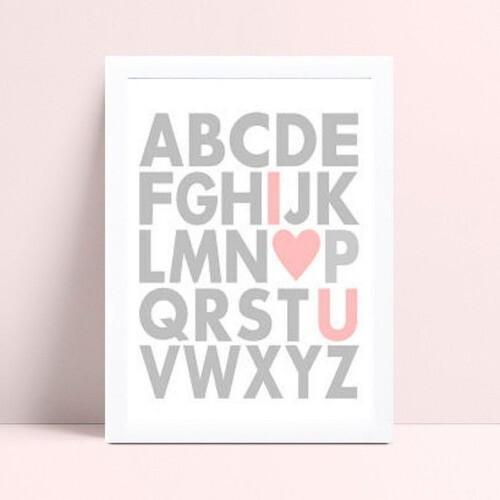 Placa Poster Infantil alfabeto abc cinza & rosa