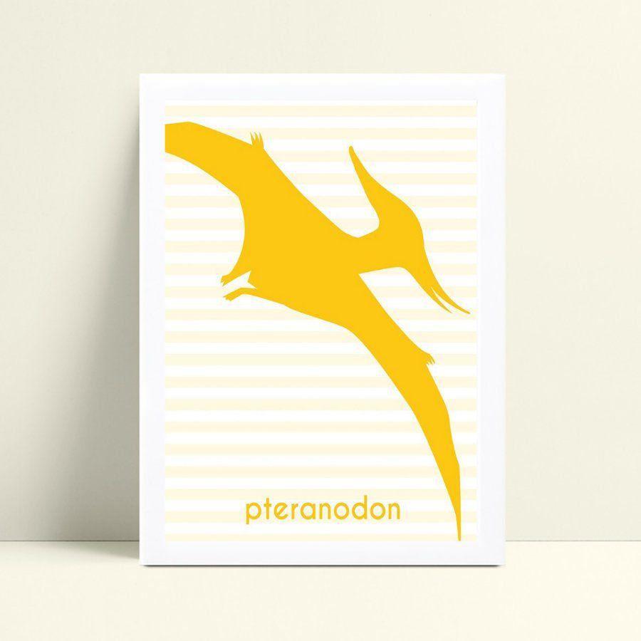 placa poster infantil ave dinossauro amarelo