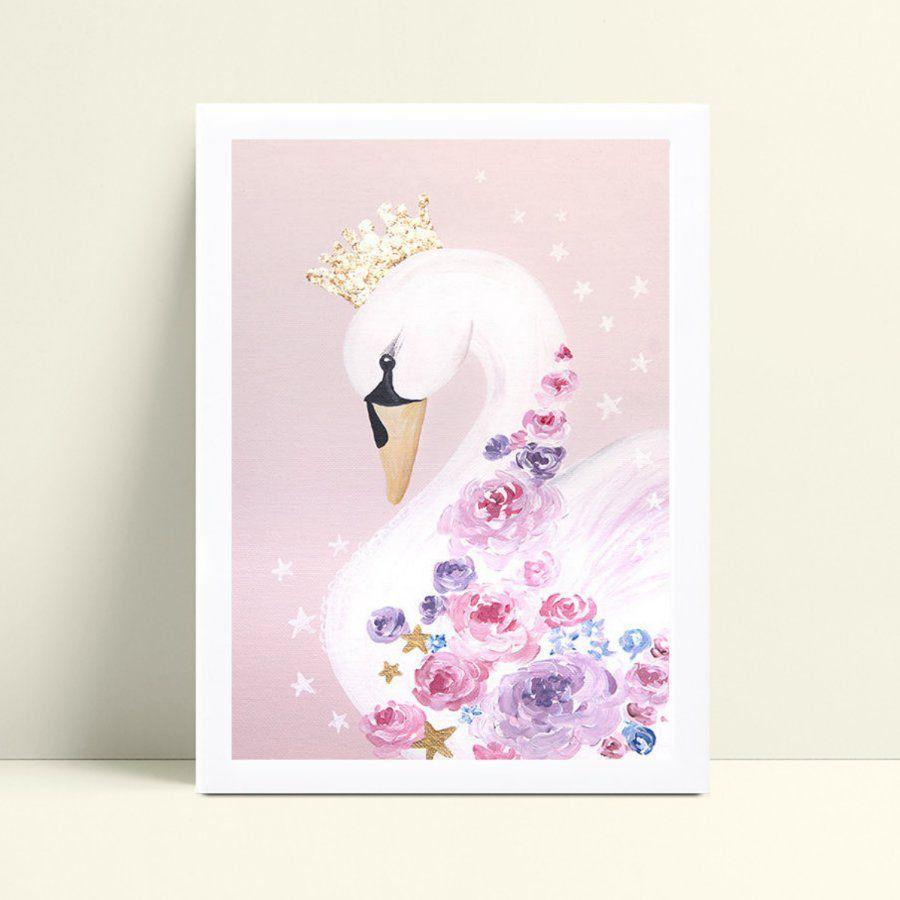 Placa Poster Infantil cisne de coroa e flores