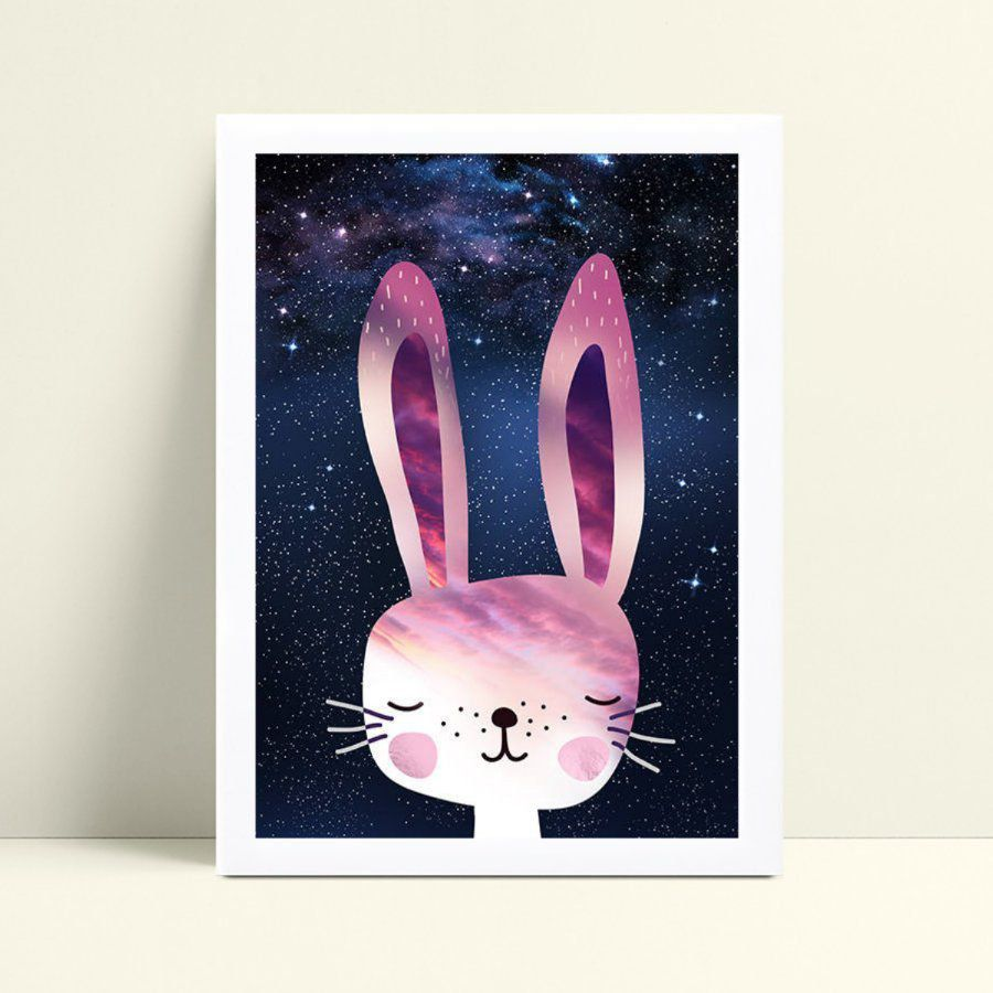 placa poster infantil coelho rosa celeste