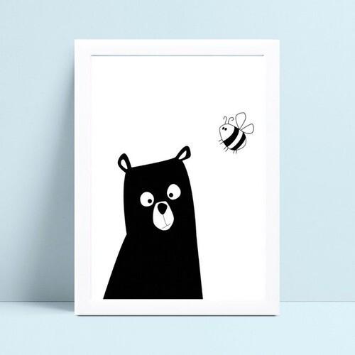 Placa Poster Infantil desenho abelha urso preto