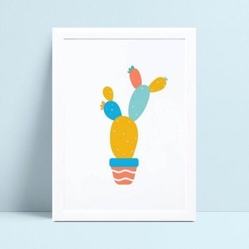 placa poster infantil desenho colorido cacto