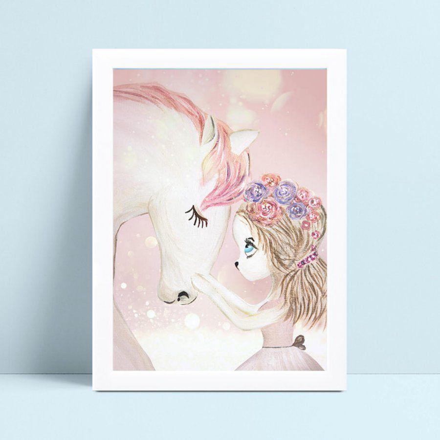 placa poster infantil desenho unicórnio e menina