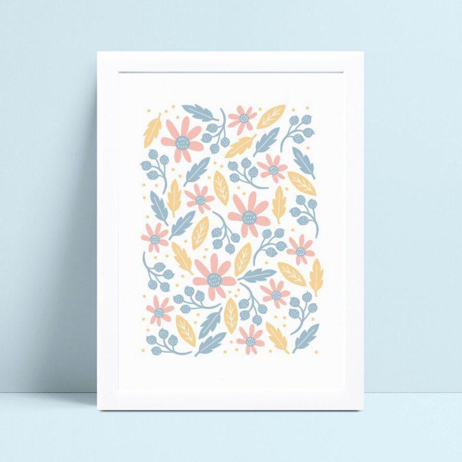 placa poster infantil flores floral