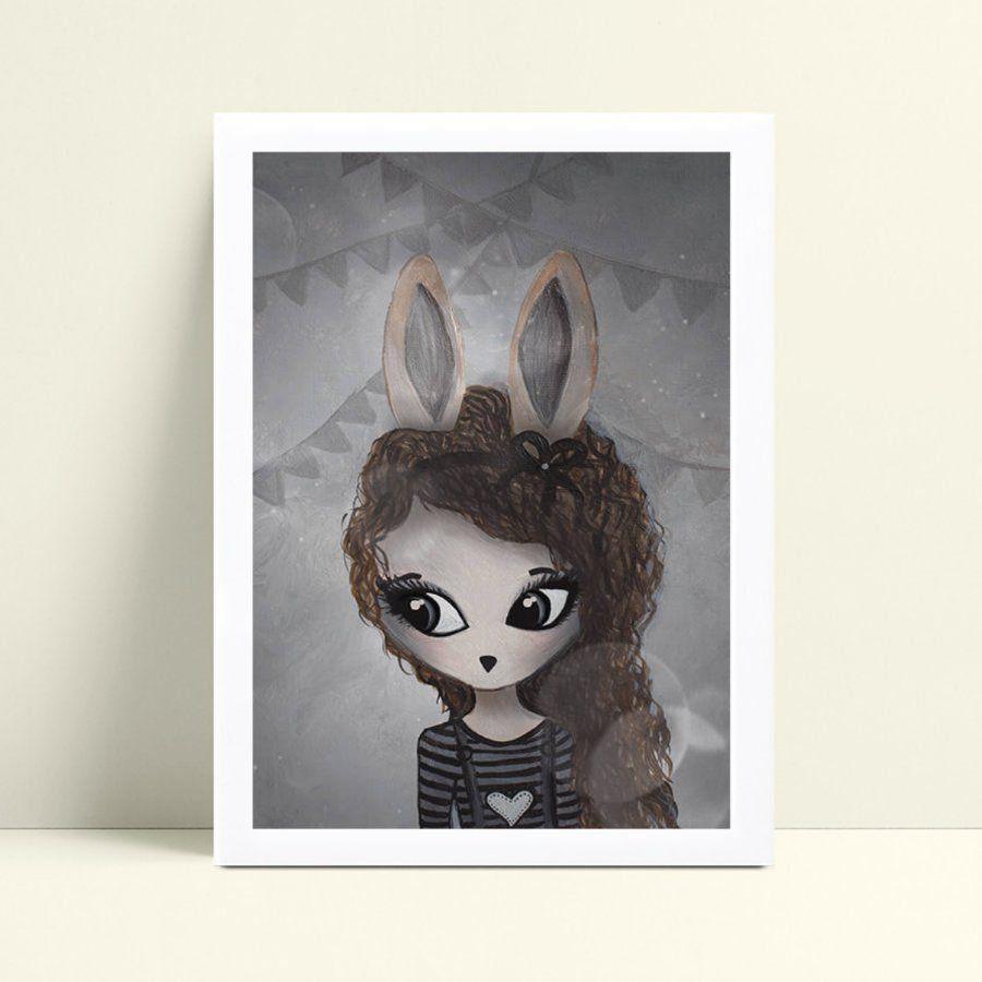 placa poster infantil menina coelho cabelos compridos
