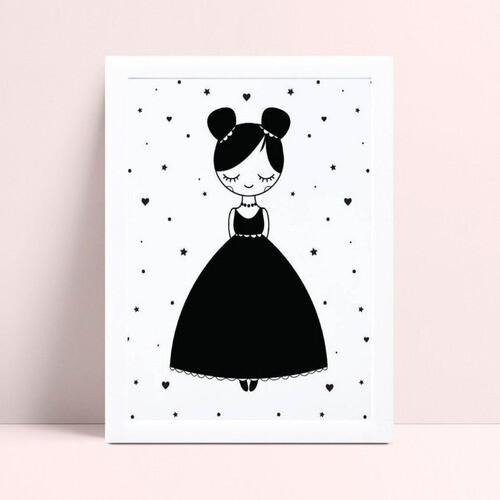 placa poster infantil menina de vestido preto