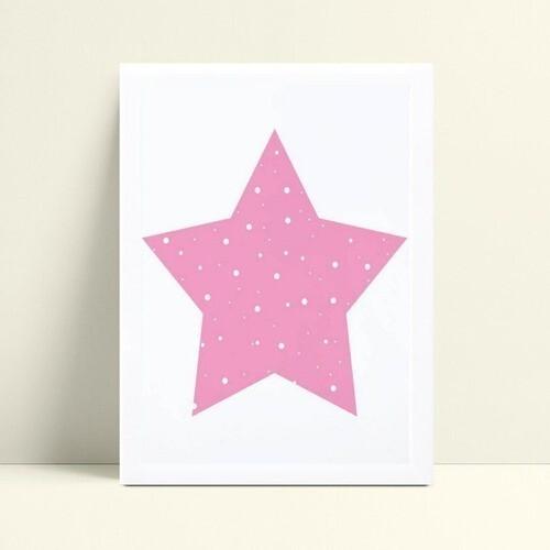 placa poster infantil menina estrela rosa e branco