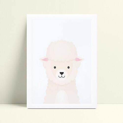 placa poster infantil menina ovelha rosa