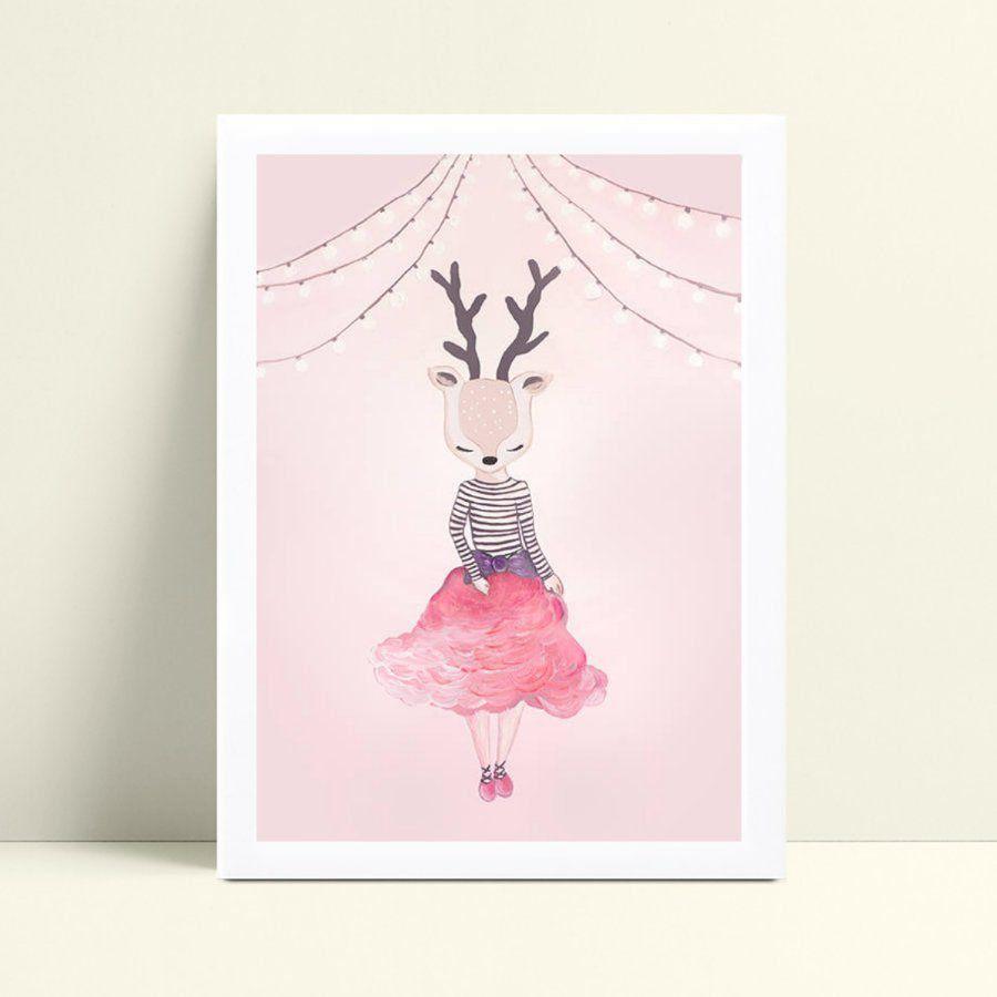 placa poster infantil menina rena de saia
