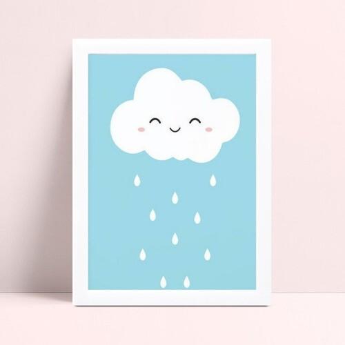 placa poster infantil nuvem chuva branco e azul