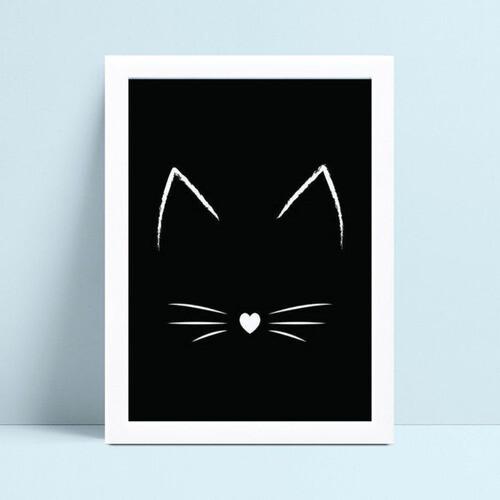 placa poster infantil orelhas bigode de gato branco