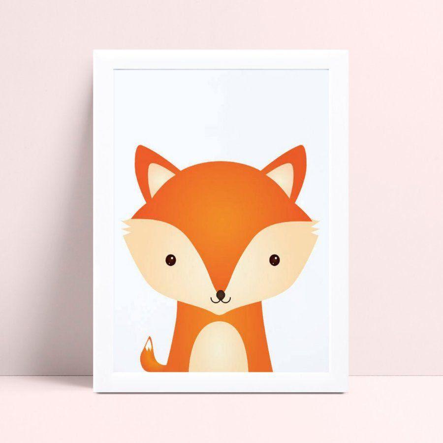 placa poster infantil raposa animal