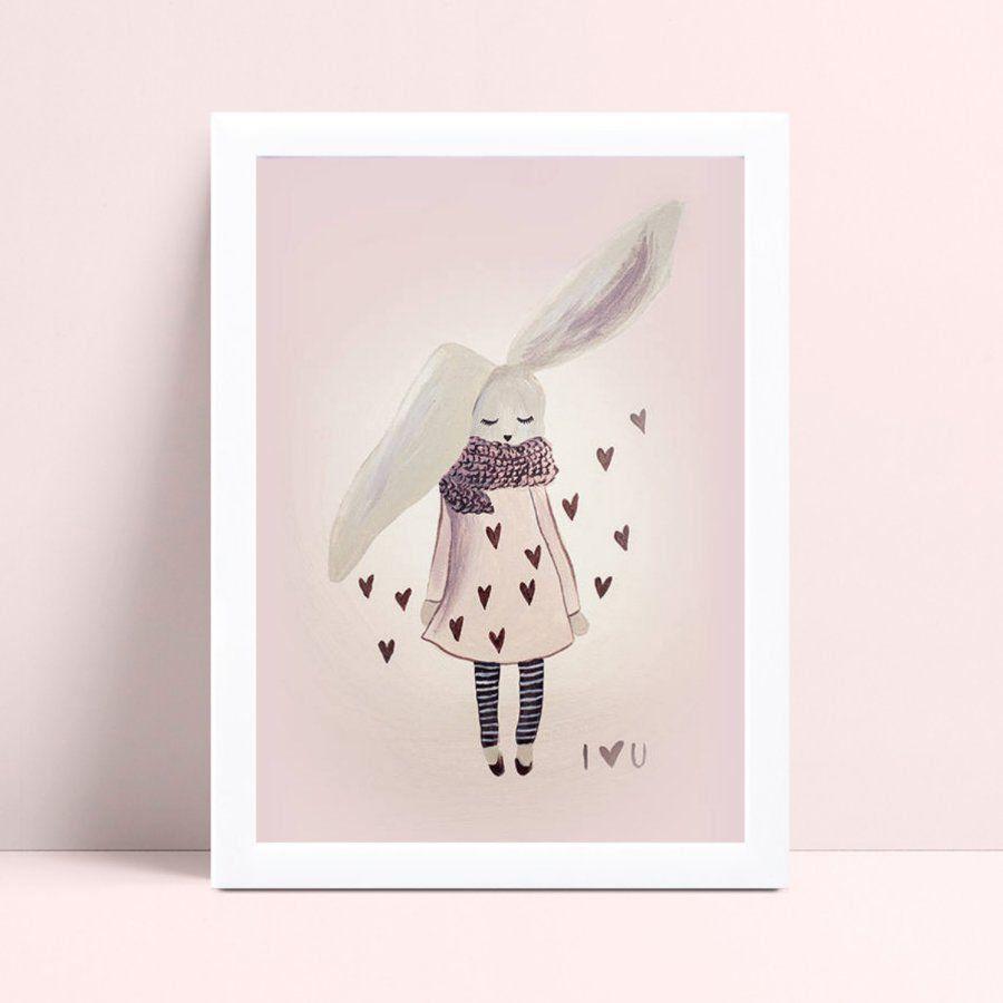Placa quadro decoração coelho menina de roupa frio corações