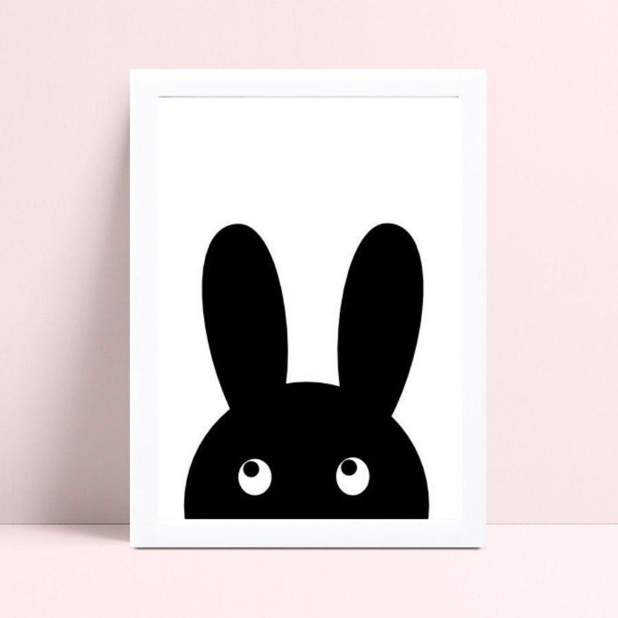 Placa quadro decoração coelho preto