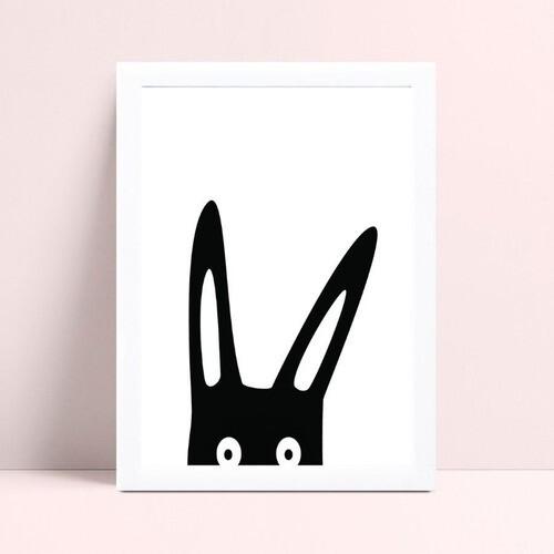 Placa quadro decoração coelho preto espiando