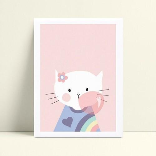 Placa quadro decoração gatinha de flor mascando chiclete