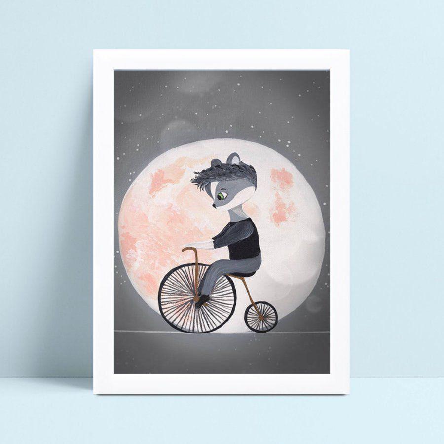 Placa quadro decoração guaxinim de bicicleta