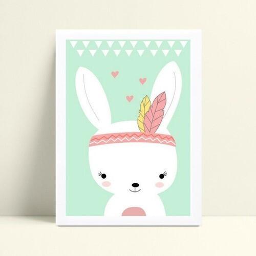 Placa Quadro Decoração Infantil coelho branco tribal color