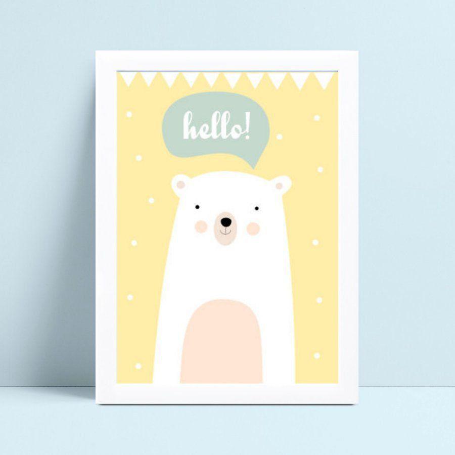 Placa Quadro Decoração Infantil menina menino urso branco