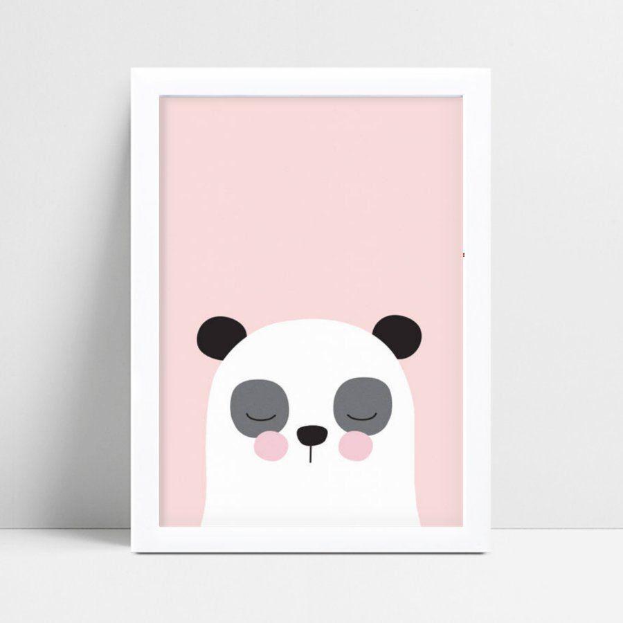 Placa Quadro Decoração Infantil menina panda animal