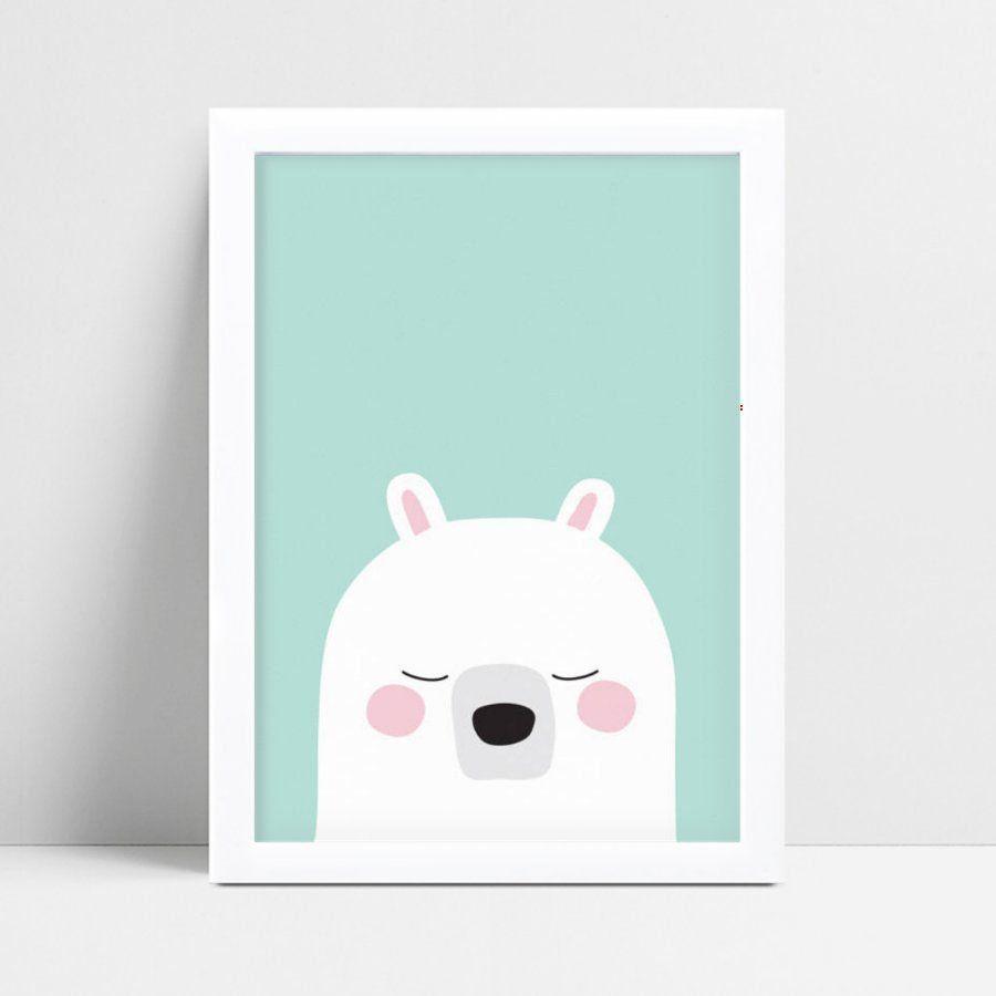 Placa Quadro Decoração Infantil urso polar