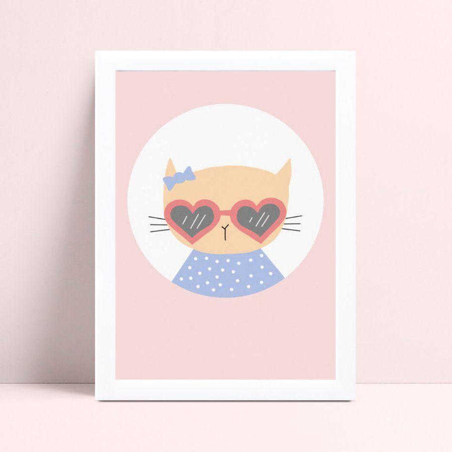 Placa quadro decoração menina gato de óculos coração