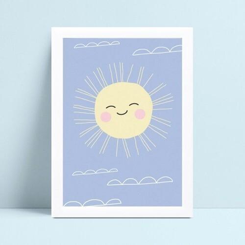 Placa quadro decoração sol céu azul