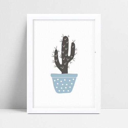 Placa quadro decoração vaso planta cacto