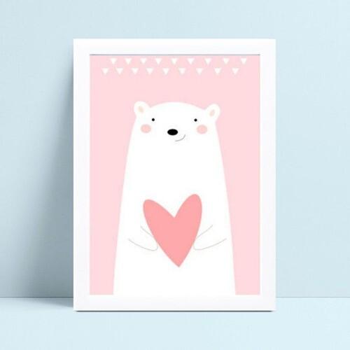 Placa Quadro Infantil Menina urso branco coração rosa