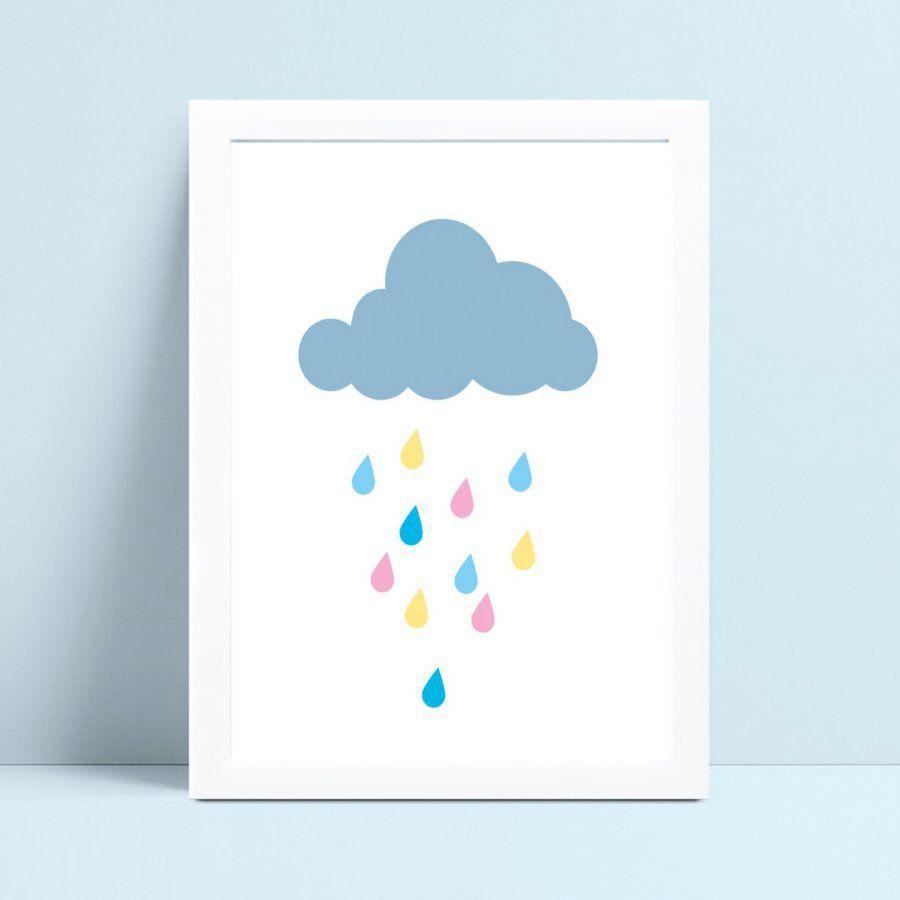 Placa Quadro Infantil nuvem chuva gotas coloridos