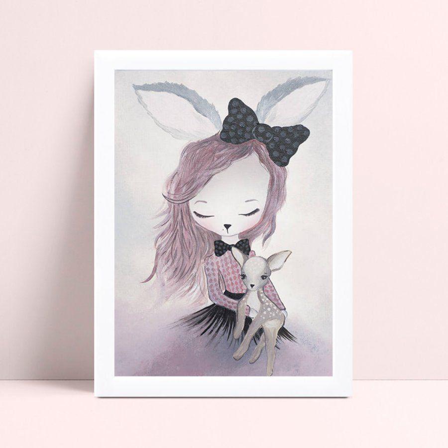 Placas Decorativas Em Mdf coelho menina de vestido