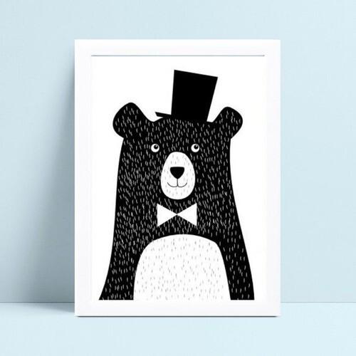Placas Decorativas Em Mdf desenho urso preto bolinhas branca