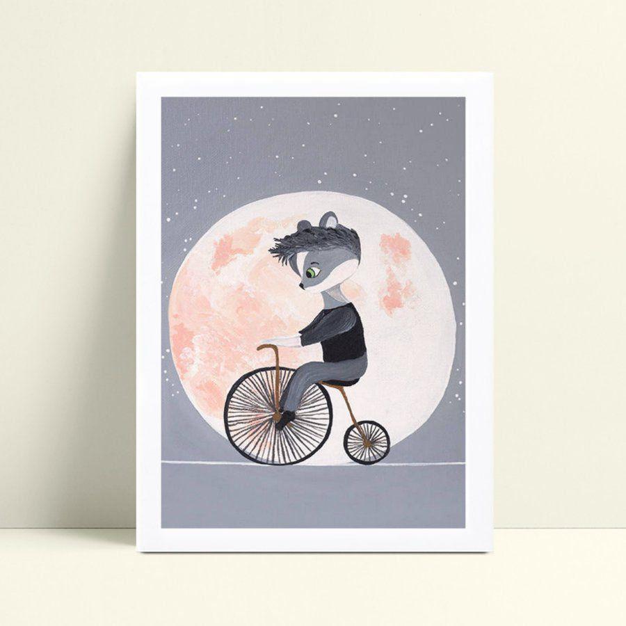 Placas Decorativas Em Mdf guaxinim de bicicleta lua