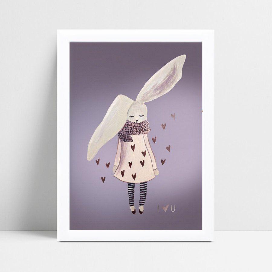 Placas Decorativas Em Mdf menina coelho de vestido