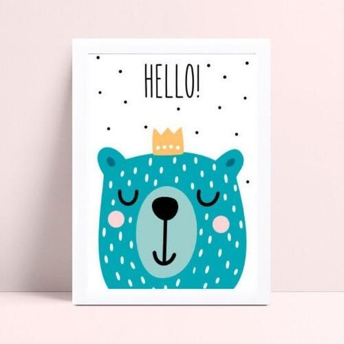 Placas Decorativas Em Mdf menino urso azul coroa