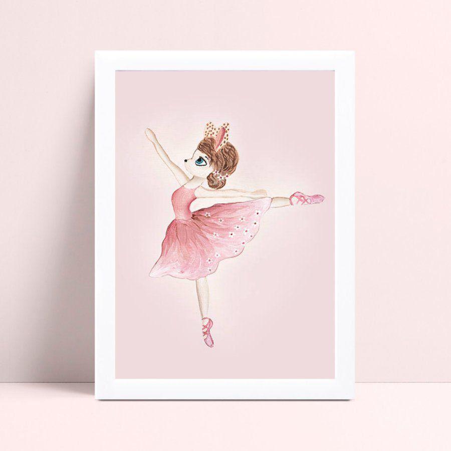 Placas Quadros Decorativos Infantil menina coelho bailarina