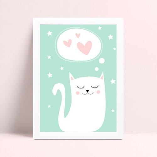 Placas Quadros Decorativos Infantil menina gato corações