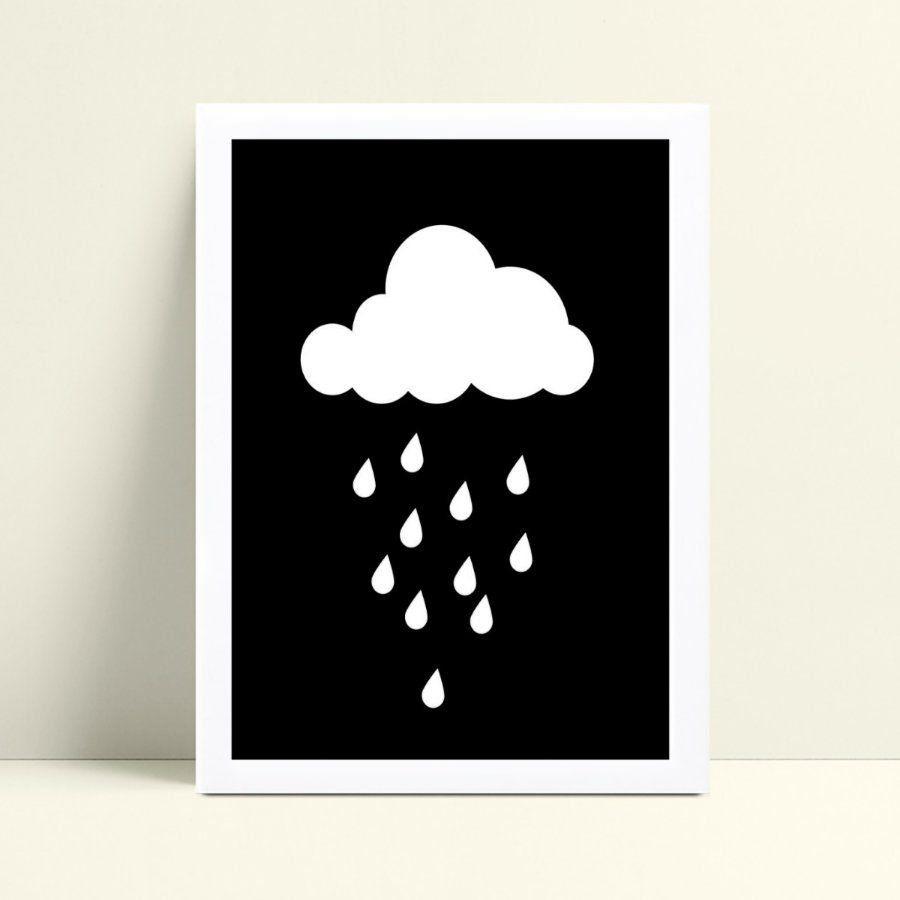 Placas Quadros Decorativos Infantil nuvem chuva p&b