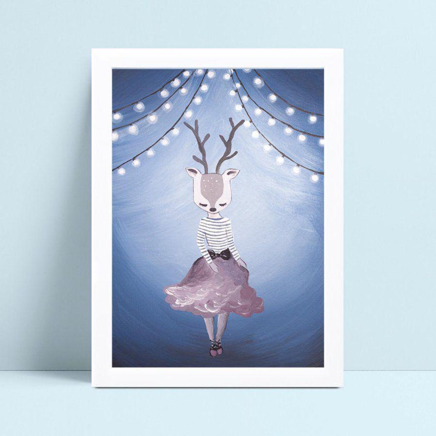 Placas Quadros Infantil desenho aquarela rena de saia