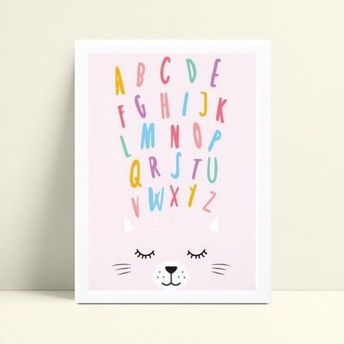 Poster gatinho alfabeto colorido