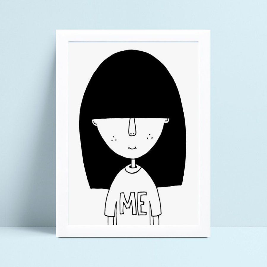 Poster infantil menina cabelos compridos e preto