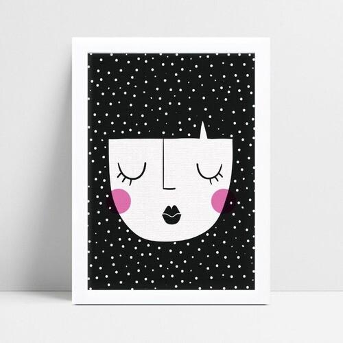 Poster infantil menina cabelos pretos bolinhas brancas
