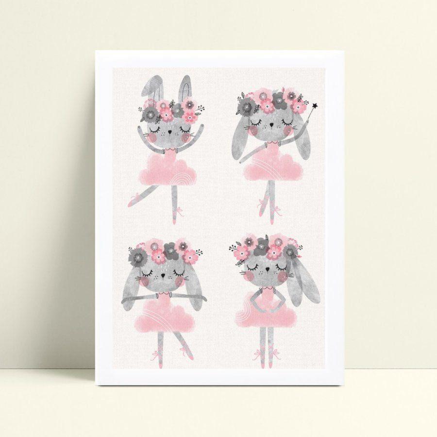 Poster infantil menina coelho bailarinas dançando
