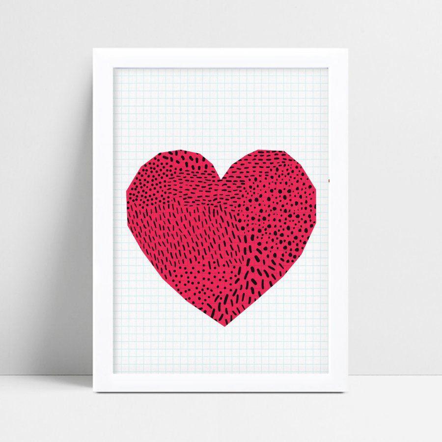 Poster infantil menina coração rosa bolinhas preto