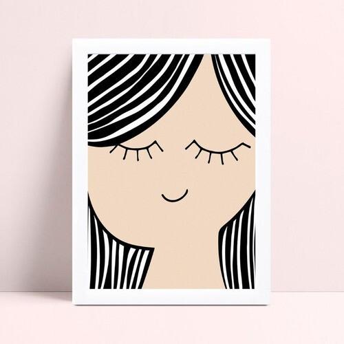 Poster infantil menina criança olhos fechados